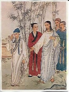 Chinese depiction of Jesus and the rich young man, Beijing, 1879.